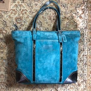 COACH large Suede Leather Tote Purse BEADED ziptop
